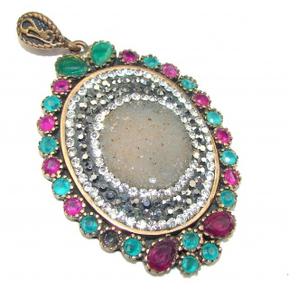 Victorian Style! Gray Druzy Sterling Silver Pendant