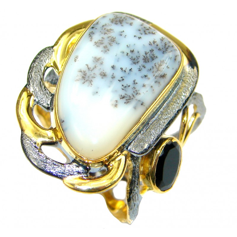 Perfect! White Dendritic Agate, Onyx Gold Plated, Rhodium Plated Sterling Silver Ring s. 8