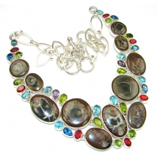 Instant Classic! Petrified Wood Sterling Silver necklace