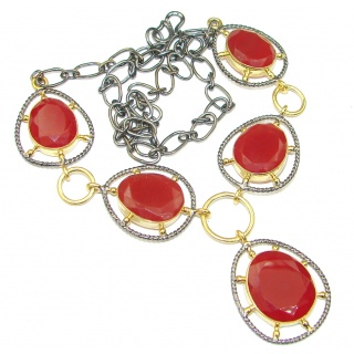 Love And Friendship! Orange Carnelian, Rhodium Plated, Gold Plated Sterling Silver Necklace
