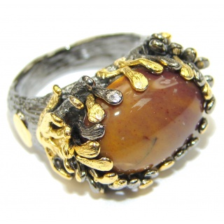 Beautiful! Mookaite, Rhodium Plated, Gold PLated Sterling Silver Ring s. 8