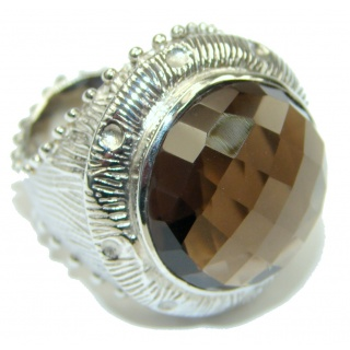 Big! Excllent Brown Smoky Topaz Sterling Silver ring s. 7 1/4