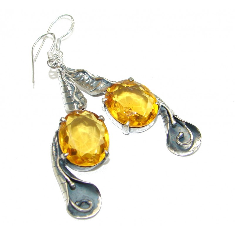 Natural Beauty! Citrine Sterling Silver earrings / Long