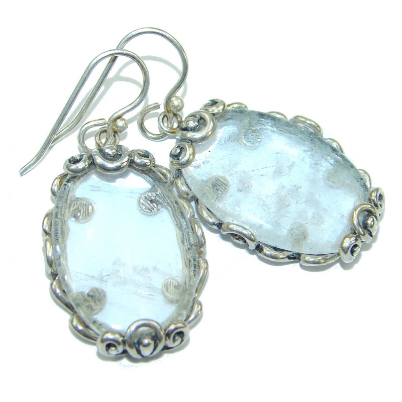 Beautiful! Classic Design White Topaz Sterling Silver earrings