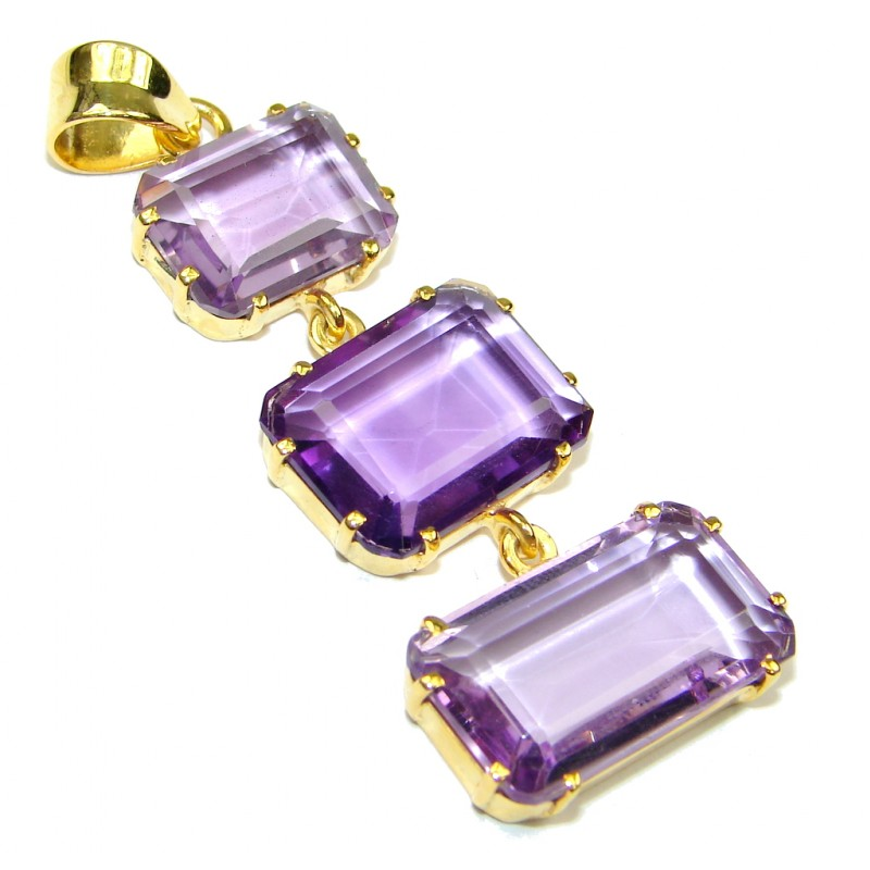Beautiful! Amethyst Quartz , 18K Gold Plated Sterling Silver Pendant