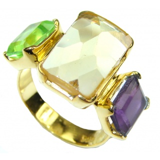 Pale Beauty! Citrine Quartz, 18K Gold Plated Sterling Silver Ring s. 6 1/2