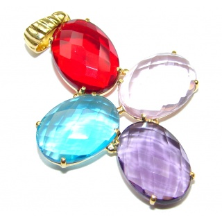 Total Happiness! Multicolor Quartz, 18K Gold Plated Sterling Silver Pendant