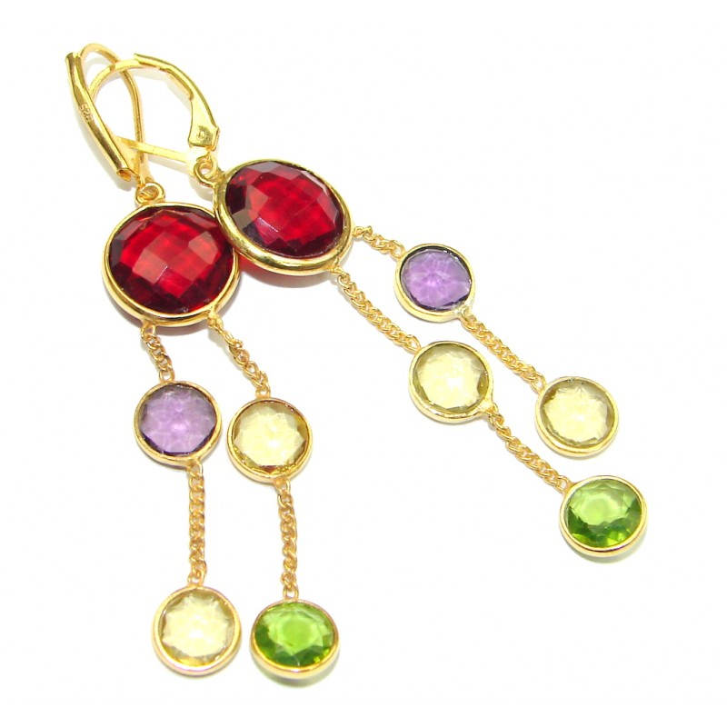 Perfect Gift! Multicolor Quartz, 18K Gold Plated Sterling Silver earrings / Long