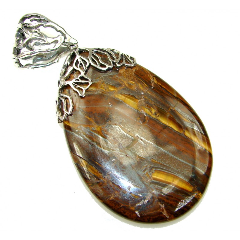 Huge Amazing AAA Golden Tigers Eye Sterling Silver Pendant