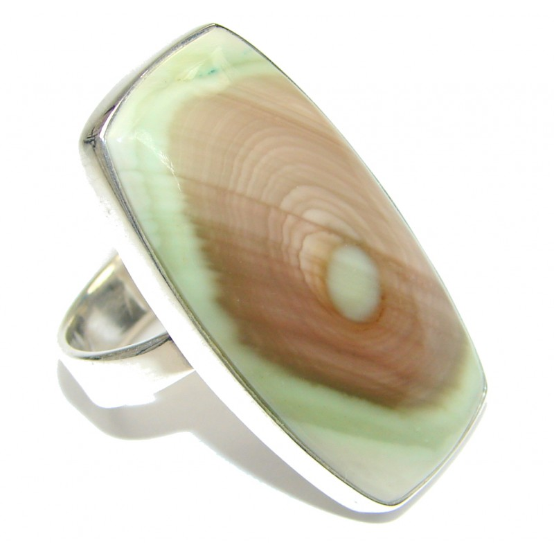 Amazing Green Imperial Jasper Sterling Silver Ring s. 8
