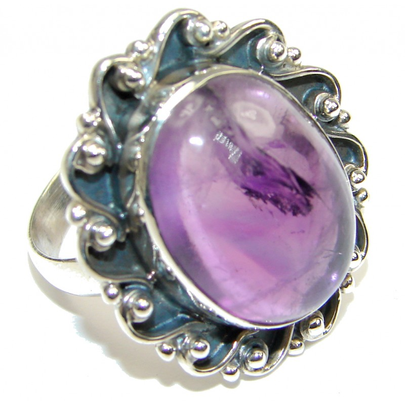 Natural! AAA Purple Amethyst Sterling Silver Ring s. 9 1/2