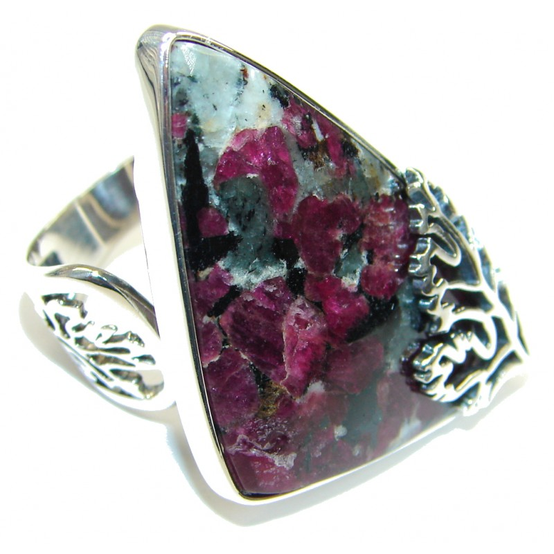 Natural Russian Eudialyte Sterling Silver Ring s. 7 adjustable
