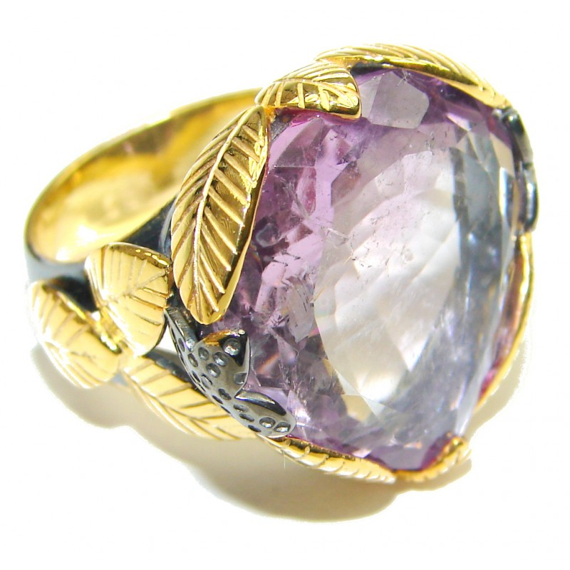 Gorgeous! Genuine Amethyst 18K Gold Rhodium Plated Sterling Silver Ring s. 7