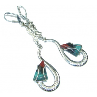 Long! Red Sonora Jasper Sterling Silver Earrings / Long