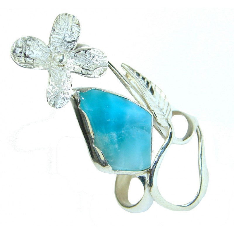 Natural Caribbean Sea Blue Larimar Sterling Silver Ring s. 9