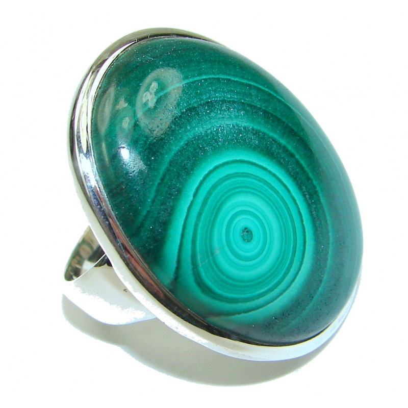Green Love! AAA Green Malachite Sterling Silver ring s. 8 3/4