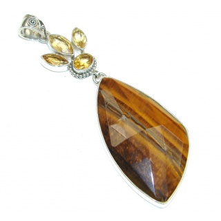 Big! Natural Beauty! Brown Tigers Eye Sterling Silver Pendant