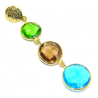 True Beauty! Multicolor Quartz, 18K Gold Plated Sterling Silver Pendant
