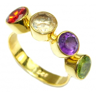 Summer Beauty! Multicolor Quartz, 18K Gold Plated Sterling Silver Ring s. 8