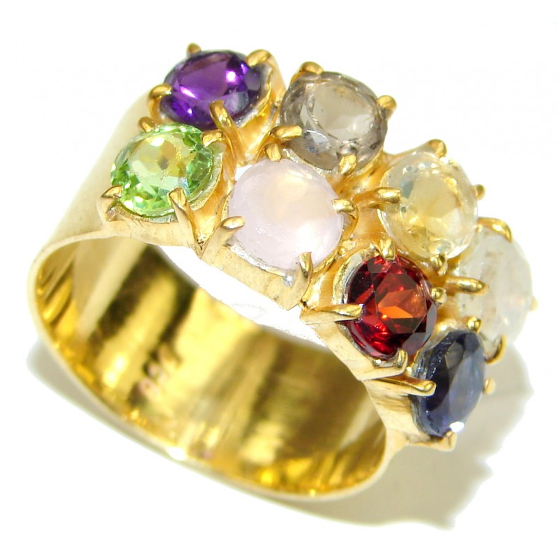 Summer Beauty! Multicolor Quartz, 18K Gold Plated Sterling Silver Ring s. 8 3/4