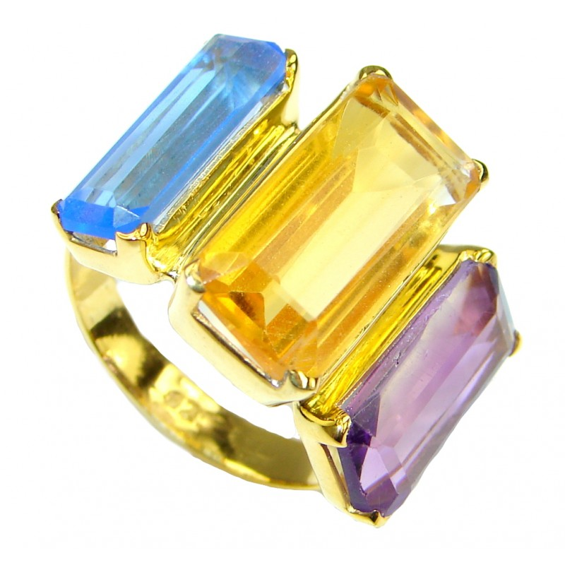Great Multicolor Quartz, 18K Gold Plated Sterling Silver Ring s. 8 3/4