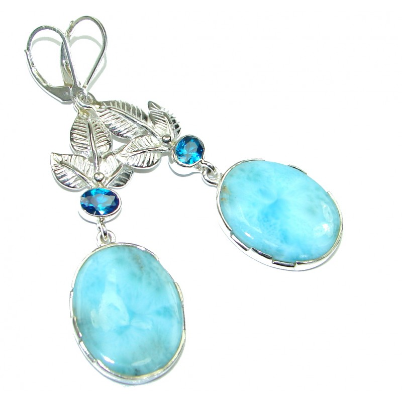 Natural Beauty Blue Larimar Sterling Silver earrings / Long