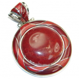 Fantastic Brown Mexican Fire Agate Sterling Silver Pendant