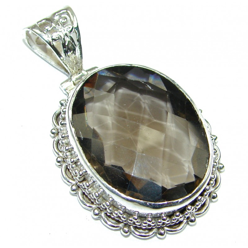 Stunning! Brown Smoky Topaz Sterling Silver Pendant