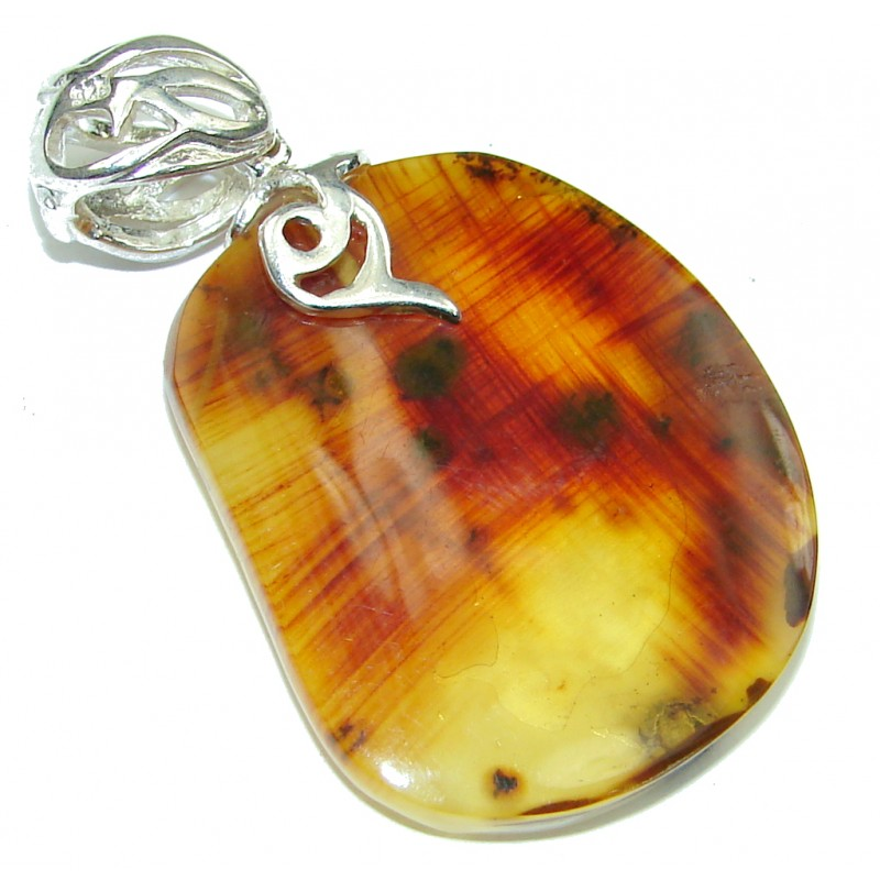 Exclusive! AAA Baltic Polish Amber Sterling Silver Pendant