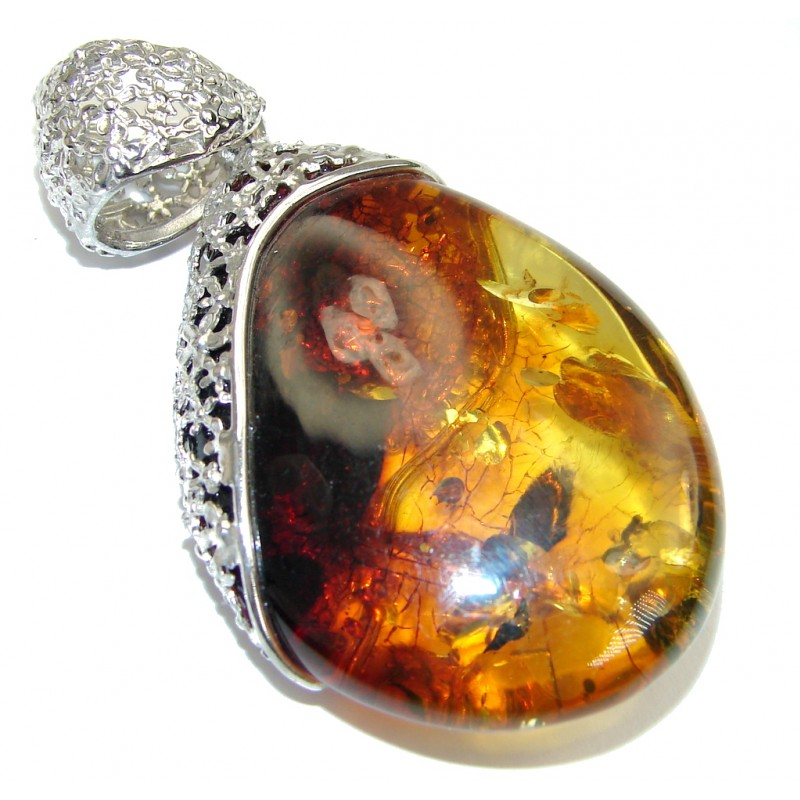 Perfect Gift! AAA Baltic Polish Amber Sterling Silver Pendant