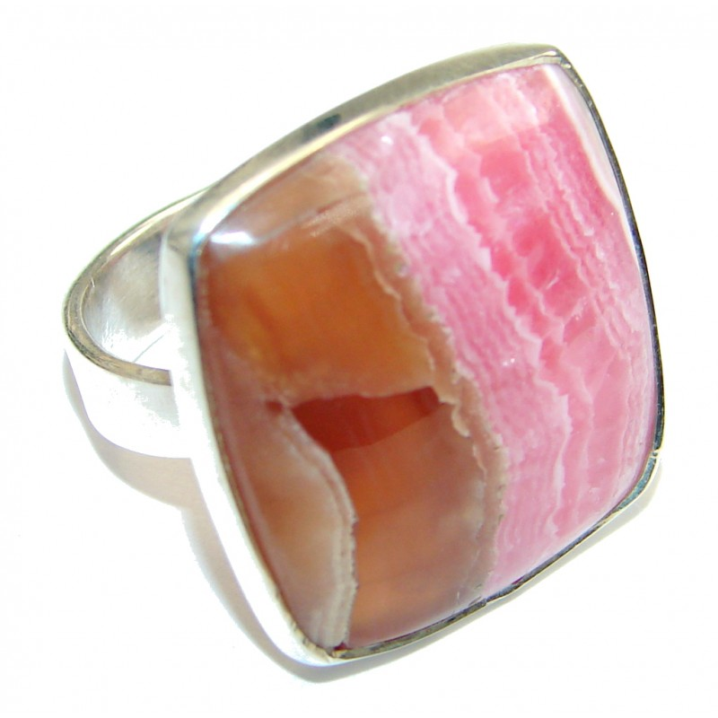 Beauty!! AAA Pink Rhodochrosite Sterling Silver ring s. 6 1/4