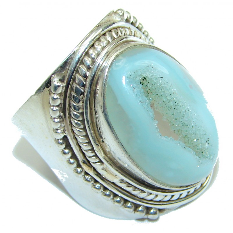 Big! Classy Light Blue Agate Druzy Sterling Silver Ring s. 10 1/4