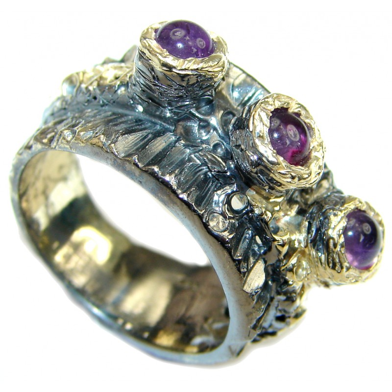 Secret Beauty! AAA Amethyst, Gold Plated, Rhodium Plated Sterling Silver ring s. 7 1/4
