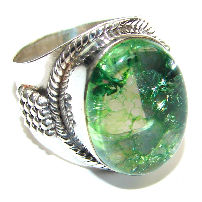 Secret Green Quartz Sterling Silver ring s. 7 1/2