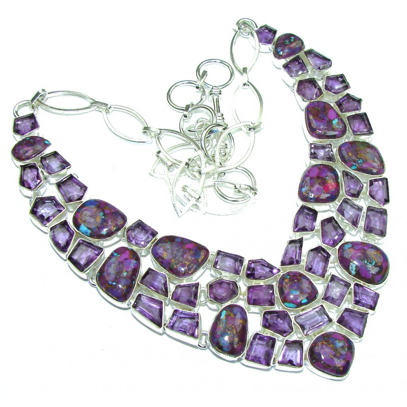 Purple Planet Amethyst Turquoise Sterling Silver necklace