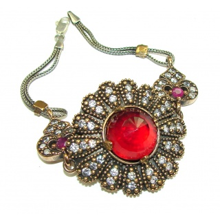 Victorian Style! Created Ruby, White Topaz Sterling Silver Bracelet