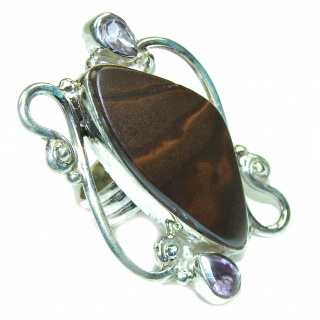 Fancy Design Boulder Opal Sterling Silver Ring s. 7 1/2