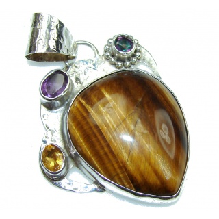 Big! Exclusive Brown Tigers Eye Sterling Silver Pendant