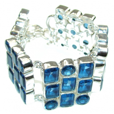 Beautiful Design! Lab. Created Blue Topaz Sterling Silver Bracelet