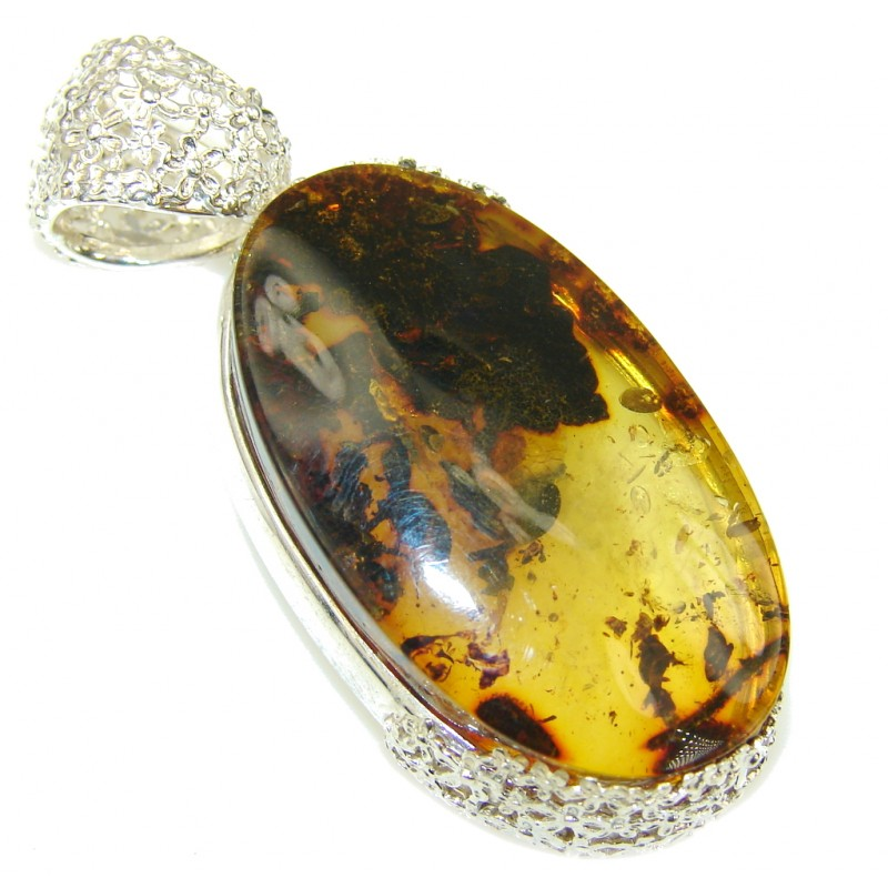 Natural Cognac Baltic Polish Amber Sterling Silver Pendant