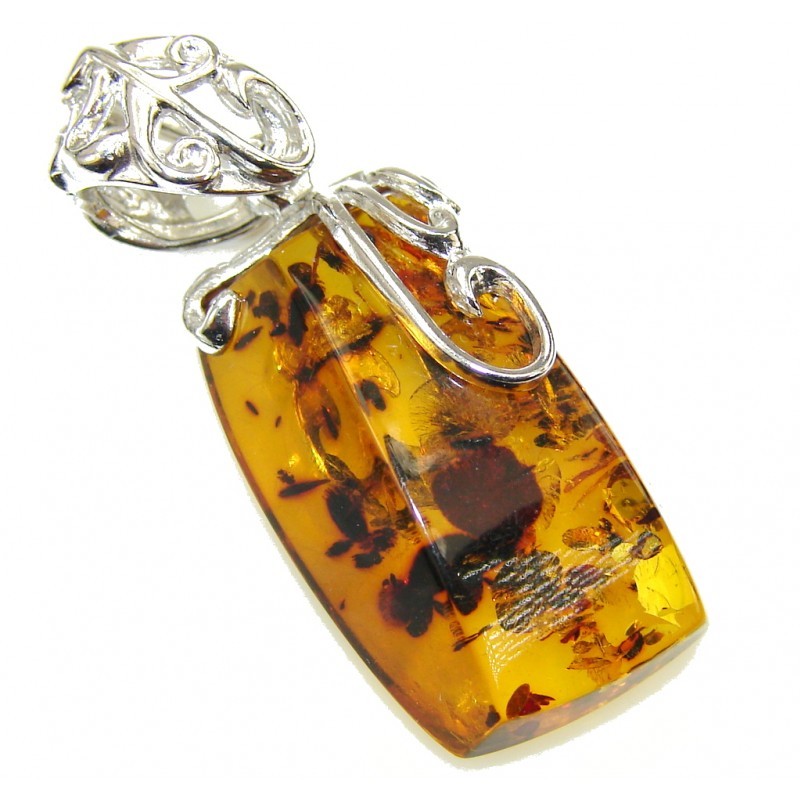 Natural Baltic Polish Amber Sterling Silver Pendant