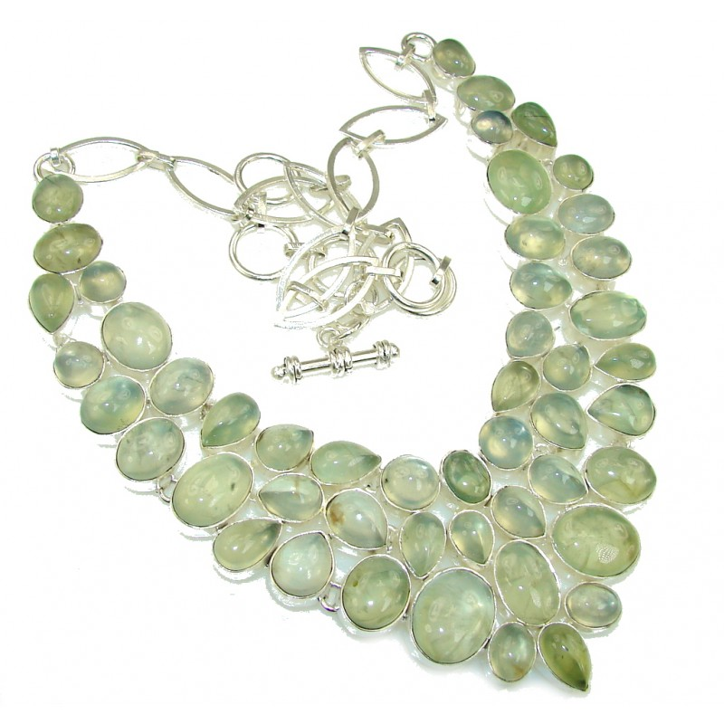 Heavenly Love AAA Green Moss Prehnite Sterling Silver necklace