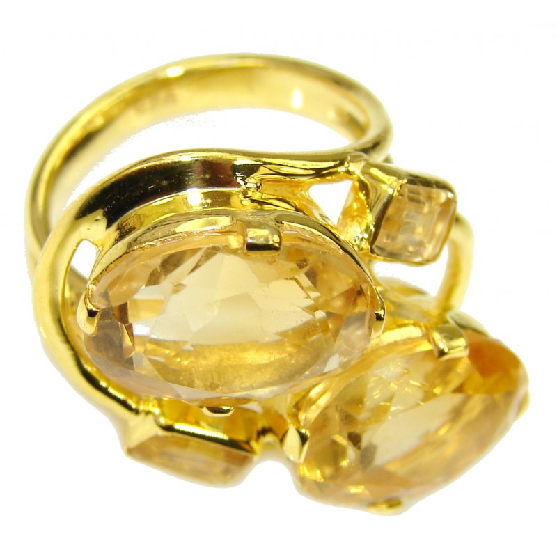 Natural Beauty! Yellow Citrine, 18K Gold Plated Sterling Silver Ring s. 7