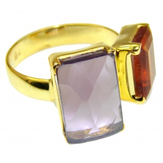 Pale Beauty! Citrine Quartz, 18K Gold Plated Sterling Silver Ring s. 7