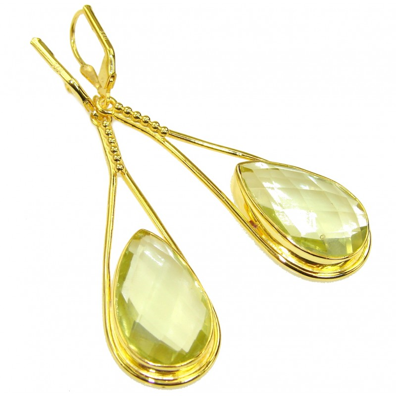 Lovely Smoky Quartz, 18K Gold Plated Sterling Silver earrings