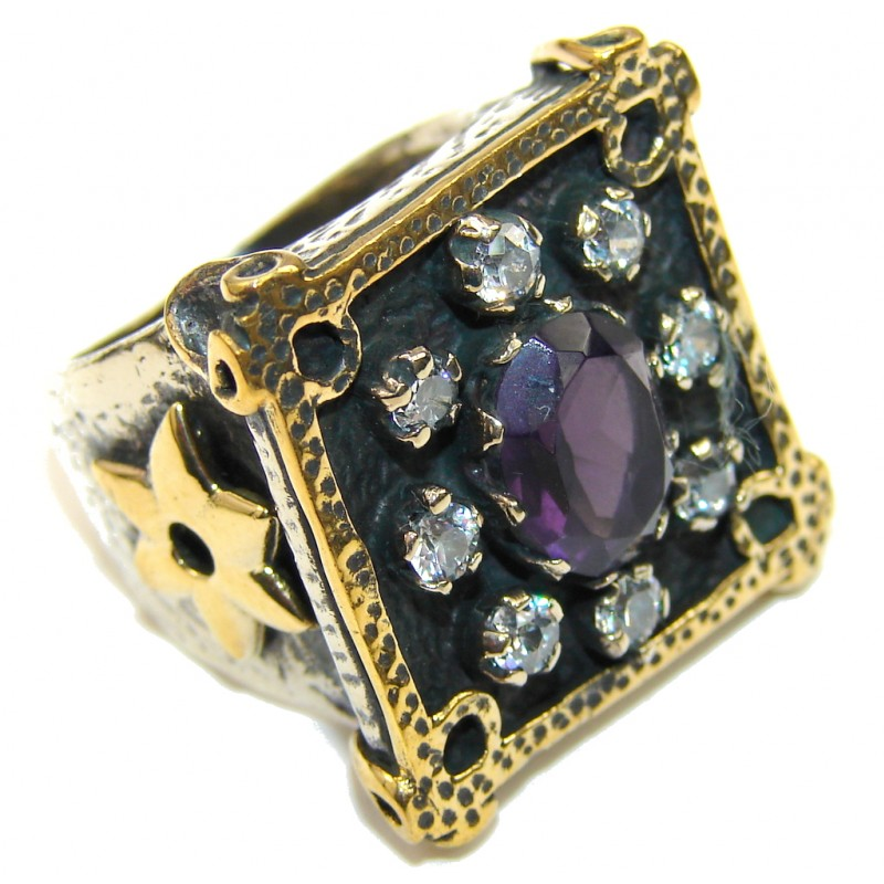 Victorian Style! Purple Amethyst & White Topaz Sterling Silver ring s. 8