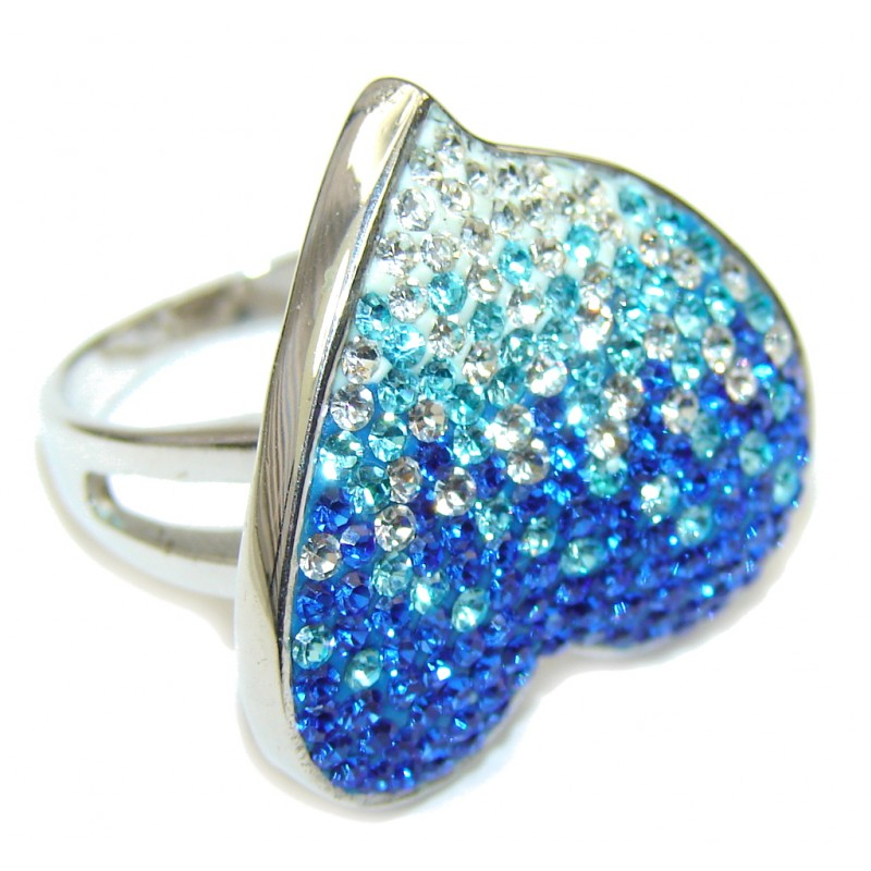 Secret Beauty! Multicolor Quartz Sterling Silver Ring s. 7 1/2
