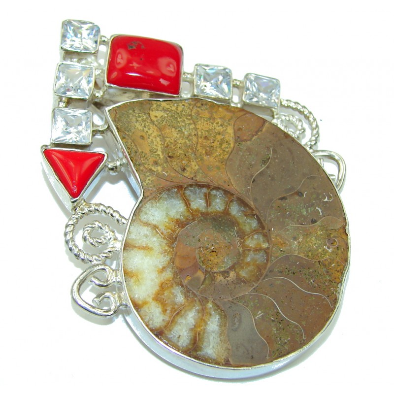 Large! Brown Shell Ammonite Fossil & Coral Sterling Silver Pendant