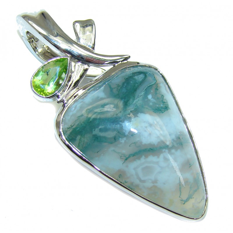 Just Perfect! AAA Green Moss Agate Sterling Silver Pendant