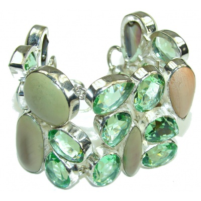 Large! Garden Love! Created Green Apatite, Imperial Jasper Sterling Silver Bracelet